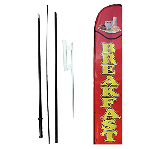 IRIS Swooper Flag with Ground Spike Kit & Swooper Pole Kit perfect Breakfast (15' Tall)