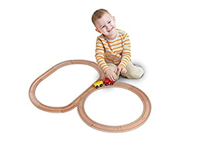 Deluxe Wooden Train Tracks Set For Kids | 54 Piece Wooden Train Expansion Pack | Compatible with Thomas the Train Wooden Railway, Melissa and Doug Train Set, Brio Train, Chuggington, Ikea and More by USA Toyz