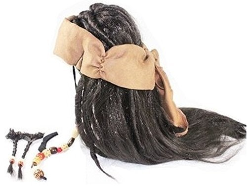 Jack Sparrow style costume wig & beard & wig NET & wig stand, set of ()