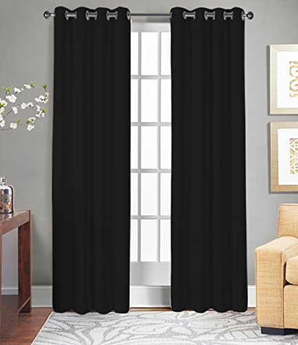 Tiny Break Curtains for Living Room and Bedroom, Made of 100% Natural Cotton, Eco friendly & Safe, Extra Large Black curtains 96 inch long, Window Curtains Set of 2 Panels, Room Darkening Curtains - Black Natural Curtain