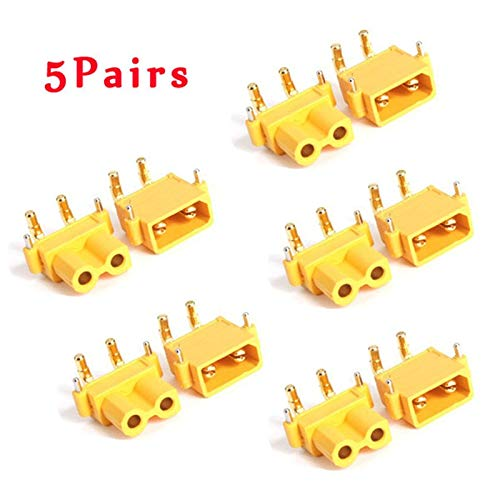 Yoton Accessories 5Pairs XT30PW 30A Low Temperature Rise Fire Retardant Plug for RC Camera Drone Accessories