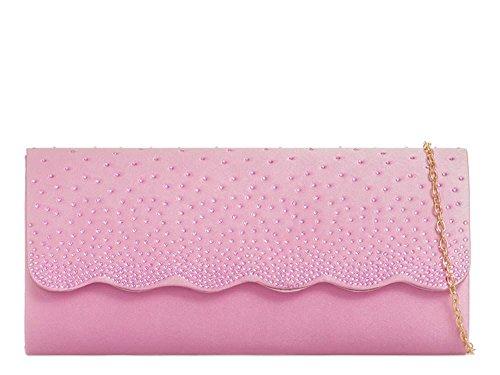 Detail Evening Party Scallop New Ladies Bag Pink Clutch Satin Handbag Diamante fxq7wStA