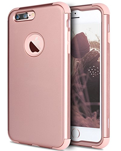 iPhone 7 Plus Case, BENTOBEN Slim Hybrid Heavy Duty Shockproof Full-Body Protective Case with Dual Layer [Hard PC+ Soft Silicone] Impact Protection Cover Case for iPhone 7 Plus (5.5 inch), Rose Gold