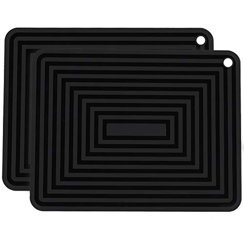 ME.FAN Large Silicone Trivets - Silicone Pot Holders/Spoon Rest/Kitchen Table Mat - Insulated, Flexible, Durable, Non Slip Hot Pads and Large Coasters 2 Set - Insulated Hot Mats