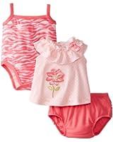 Peanut Buttons Baby-Girls Newborn Girl 3 Piece Flower Zebra Print Diaper Set