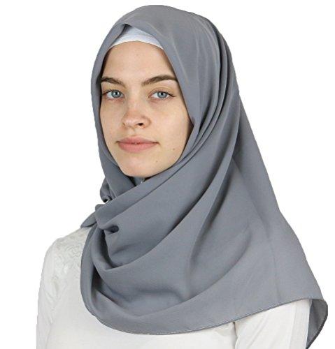 Medine Square Solid Chiffon Turkish Hijab Islamic Scarf 42x42in (Grey) by Medine