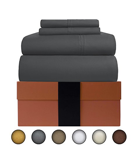 600 Tc Solid Sheet Set (Egyptian Cotton Sheets Set (4 Piece) 600 Thread Count - Bedspread Deep Pocket Premium Bedding Set, Luxury Bed Sheets for Hotel and Home Collection Soft Sateen Weave Perfect Gift (King, Elephant Grey))