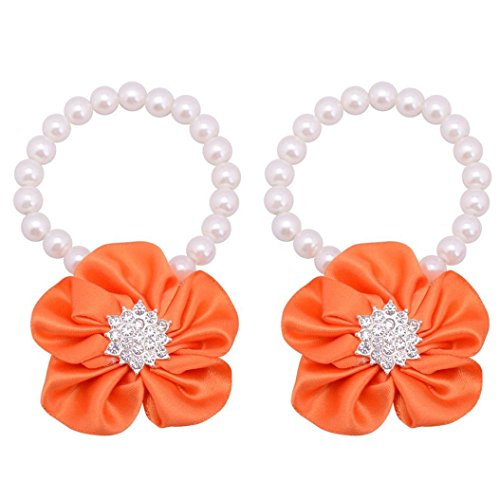 Elevin(TM) Trendy Fashion Toddler Baby Beautiful Pearl Chiffon Barefoot Flower (Shoes Anklet)