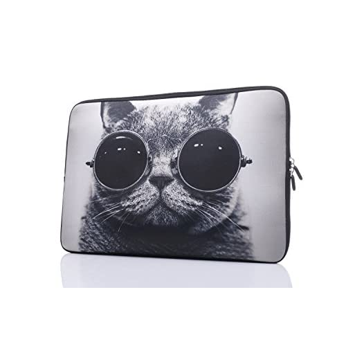 Cheap 15-15.6 Inch Laptop Sleeve Case Handle Bag Neoprene Cover For Macbook Pro/Macbook Air/Hp/Dell/Lenovo/Thinkpad/Asus/Acer, Cat With Sunglasses (Grey) hot sale