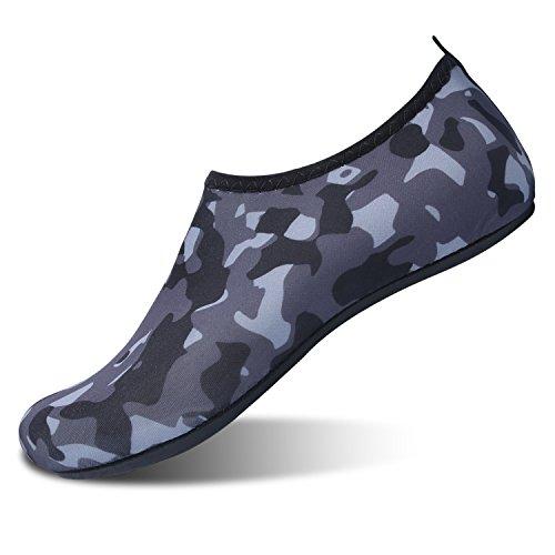 L-RUN Water Sports Shoes Barefoot Quick-Dry Slip-On Grey XL(W:10-11,M:7.5-8.5) M - Sport Run