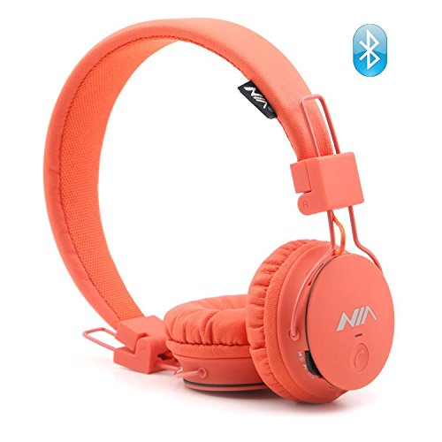 Wireless Bluetooth Headphones for Kids, Over Ear Headset Lightweight Foldable SD Card and FM Radio, Built-in Mic and Wired Mode for Computer Laptop iPhone Cell Phone and Travelling Plane (Orange) by Osla