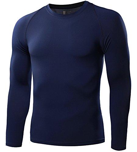 Mens Long Sleeve Compression Shirt (Men's Compression Shirt Sport Performance Crewneck Long-sleeve T Shirt(1 Pack-Navy blue,Medium))