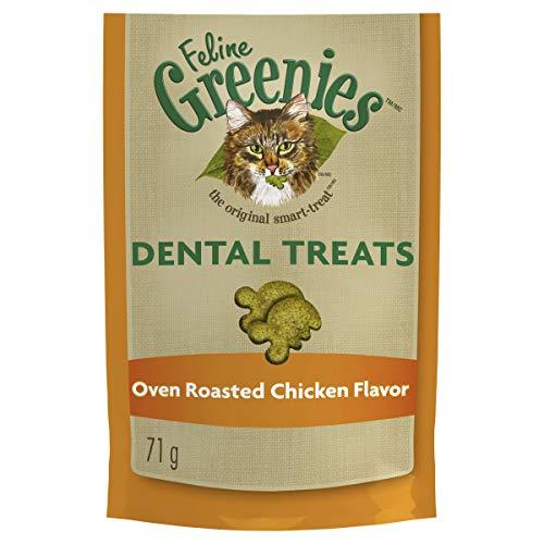 FELINE GREENIES Dental Natural Cat Treats Oven Roasted Chicken Flavor, 2.5 oz. Pouch