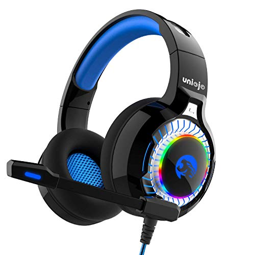 UNIOJO A60 Gaming Headset, Stereo Gaming Headphones for PS4, PC, Xbox One, Professional Wired Gaming Bass Over-Ear Headphones with Mic,Vibration Effect, LED Light, Noise Cancelling & Volume