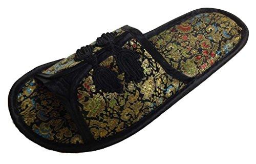 Chinesisch Pantoffeln Hausschuhe Damen Schwarz Neu
