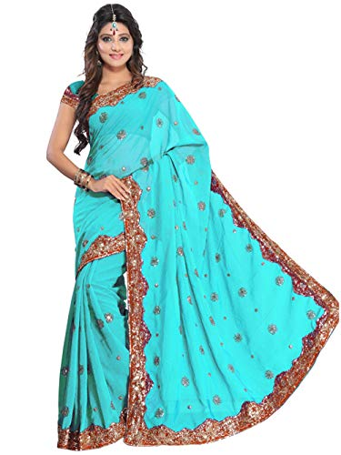 Indian Trendy Women's Bollywood Sequin Embroidered Sari Festival Saree Unstitched Blouse Piece Costume Boho Party Wear (Turquoise Blue)