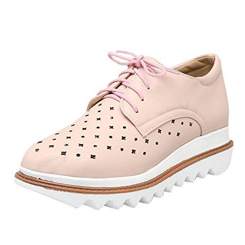 Mostrar Zapatos De Mujer Shine Mujeres Fashion Lace Up Platform Wedge Heel Oxfords Pink