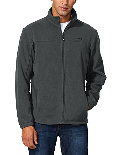 Baleaf Men's Outdoor Fleece Jacket Full Zip Thermal Dark Gray Size L