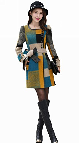Queenshiny New Style Women's Wool Blend Coat Jacket with Belt-Multicolor-L(12-14) by Queenshiny