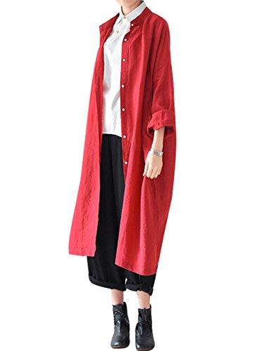 Youlee Cuello Blusa Vestir Ecmgroup Mujer es Polo Extra Talla Rojo qH6f7q