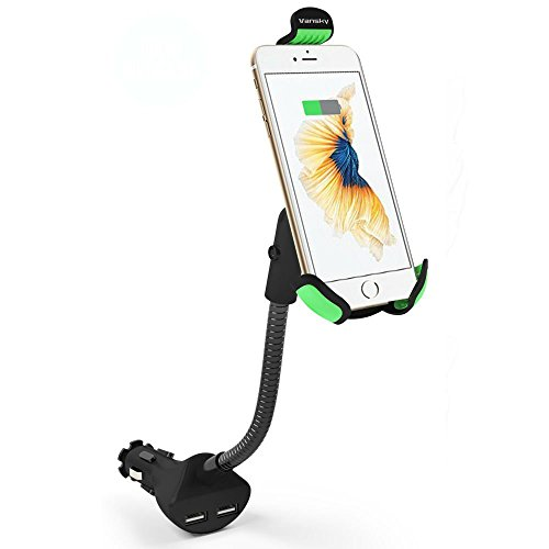 Car Phone Mount, Vansky Gooseneck Car Charger Holder Cradle Mount with Dual USB 3.1A Max Charging Ports for iPhone X/8 Plus/7 Plus/7/6/6S,Samsung Galaxy S5/S6/S7/S8, Google Nexus, Huawei by Vansky