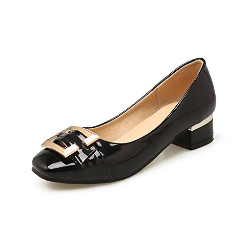 Odomolor Women's Square-Toe Low-Heels PU Solid Pull-On Pumps-Shoes, Black, 35