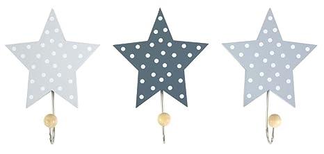 Perchas Infantiles Estrellas Gris (Juego de 3)