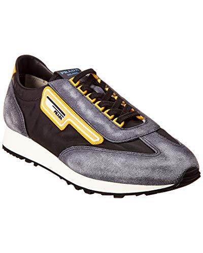 Prada Logo Patch Suede Sneaker, 9 UK, Black