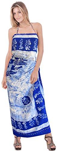 encubrir sarong se�oras del vestido del traje de ba�o traje de ba�o trajes de ba�o del ba�ador del batik falda del abrigo Azul