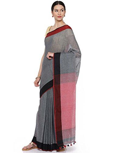 Saree Khadi Export Cotton Solid Indian Gocoop Handicrfats Pure Grey 7qxwBnOS