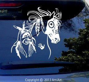 Amazoncom Horse DecalNative AMERICAN INDIAN Mustang WAR HORSE - Car window stickers amazon