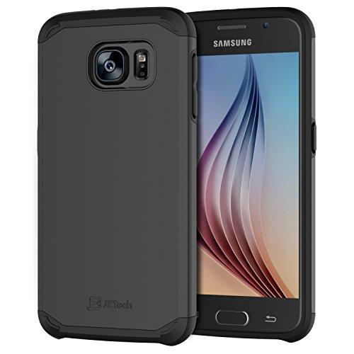 JETech Case for Samsung Galaxy S6, Shock-Absorption TPU and Replaceable PC Cover Ultra Slim Fit (Black)