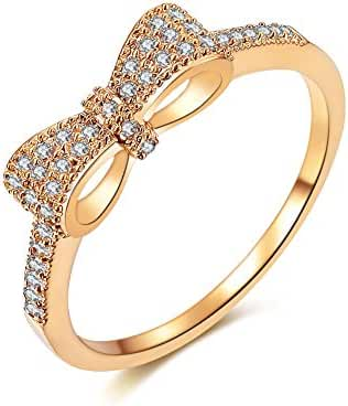Redbarry 3 Tones Cute Bow Knot Tiny CZ Diamond Paved 5mm Engagement Rings for Girls Women, Size 5.5 to 9