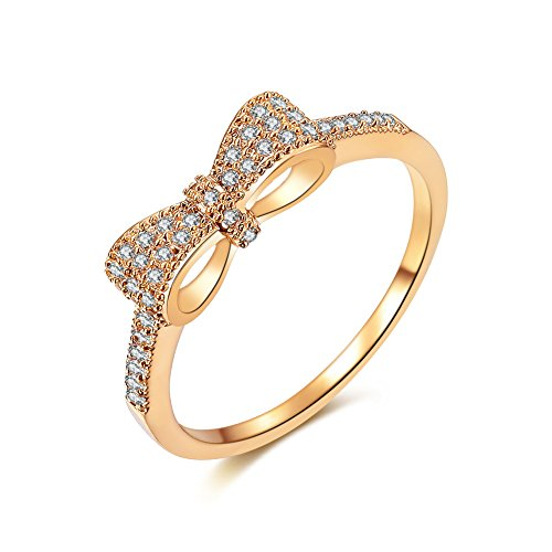 DIFINES Fashion Cute Bow Knot CZ 18k Gold Plated Eternity Band Engagement Promise Rings for Girls Women, Size 7