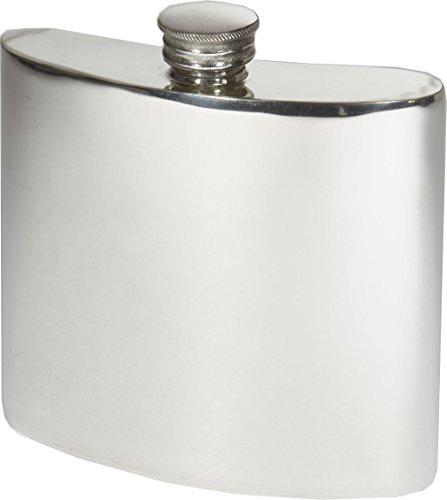 Wentworth Pewter- Plain Pewter Kidney Flask,Hip Flask, Spirit Flask, 6oz capacity ()