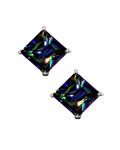Rainbow Peacock Multi Color Square Princess Cut CZ Basket Set Sterling Silver Stud Earrings 5mm by iJewelry2 (Image #1)