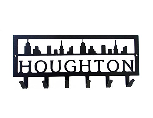 Personalized Cityscape Key Hook (6 Hooks) - Handmade in America - Power Coated Steel with 20% Gloss Black Finish - Wall Mountable Key Rack - Organize Your Home & Car Keys in Style