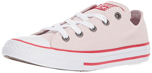 Converse Chuck Taylor All Star Seasonal Canvas Low Top Sneaker, Barely Rose/Enamel red/White, 3 M US Little Kid -