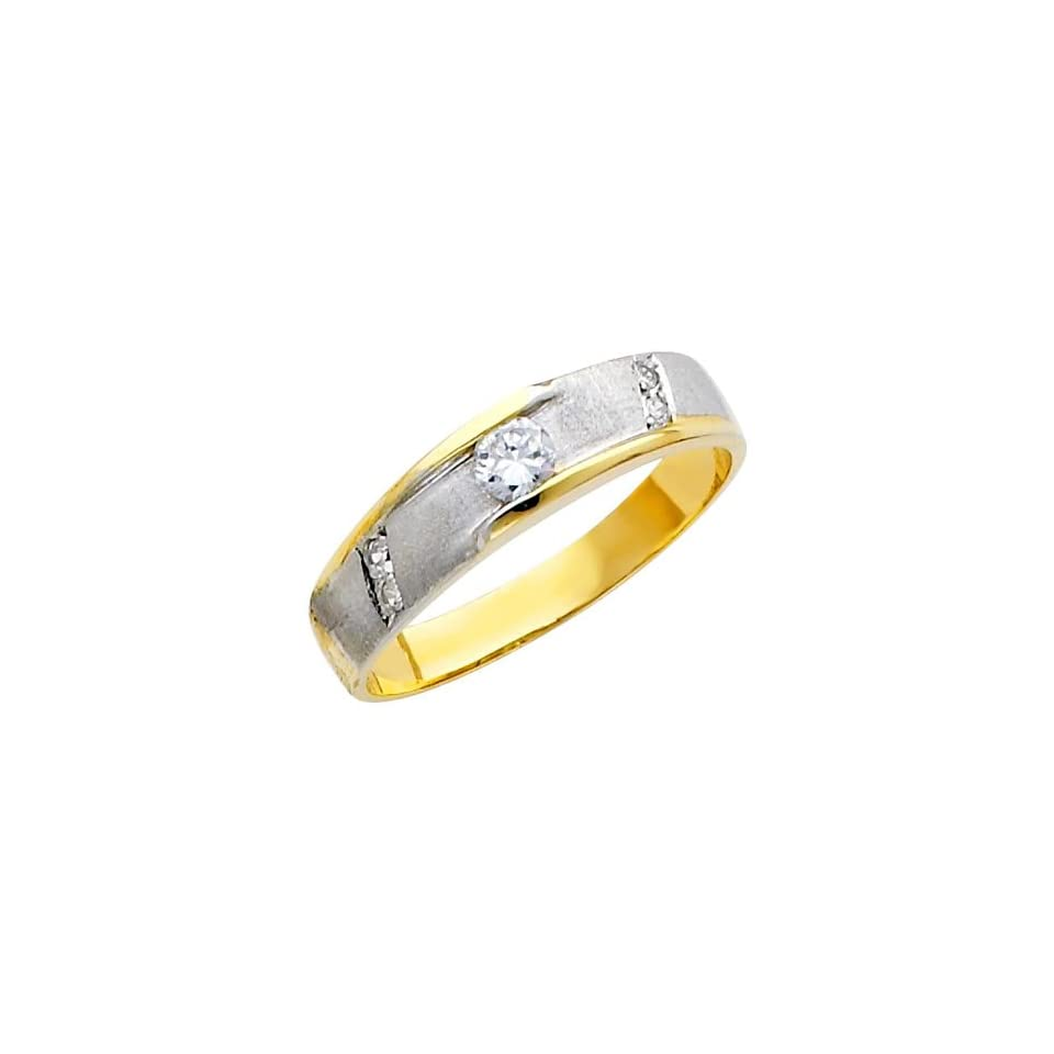 14k Two Tone Gold SOLID Mens Wedding Band