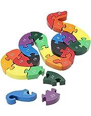 26 st/set alfabet pussel byggstenar djur trä pussel trä orm bokstäver siffror block leksaker för barn tidig utbildning leksaker pedagogiska leksaker