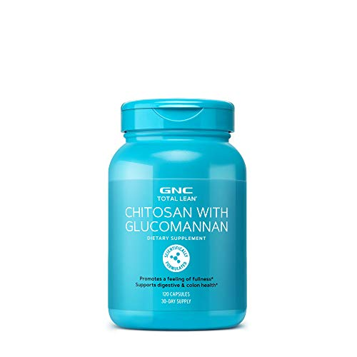 (GNC Total Lean Chitosan with Glucomannan, 120 Capsules, Supports Digestive and Colon Health)