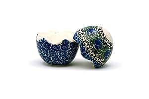 "Polish Pottery ""Cracked Egg"" Salt & Pepper Set - Peacock Feather"