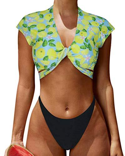 (RUUHEE Women Rash Guard Short Sleeve Bathing Suits High Waist 2 Piece Sporty Bikini (M(US Size 4-6),Yellow))