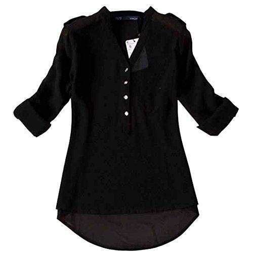 Partiss Womens V-neck Chiffon Long Sleeve Shirt Blouse XL, Black