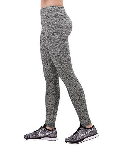 ODODOS Power Reflex Yoga Pants Tummy Control Workout Running 4 way Stretch Yoga Pants With Hidden Pocket,GrayHearher,X-Large