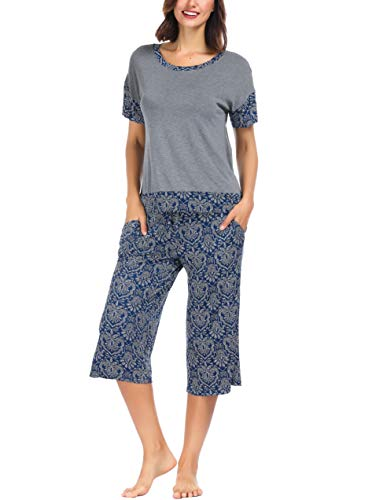 Ink+Ivy Women Pajama Set Oversized Tee and Capri Lounge Pants Navy Blue Grey Bandhani - Brown Lounge Set