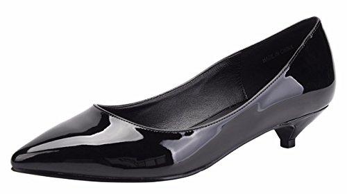 Jiu du Formal Shoes for Women Cute Slip On Pointed Toe Low Kitten Heel Dress Pumps Shoes Black Patent PU Size US8.5 EU40