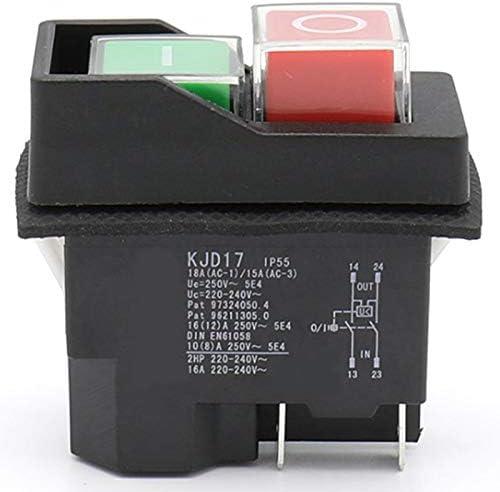 Sothat AC250V 16a Interruptor de Bot/óN Electromagn/éTico a Prueba de Agua 5 Pines KJD17 220-240V Herramienta de Potencia de Arranque Magn/éTico de Bobina Interruptores de Seguridad