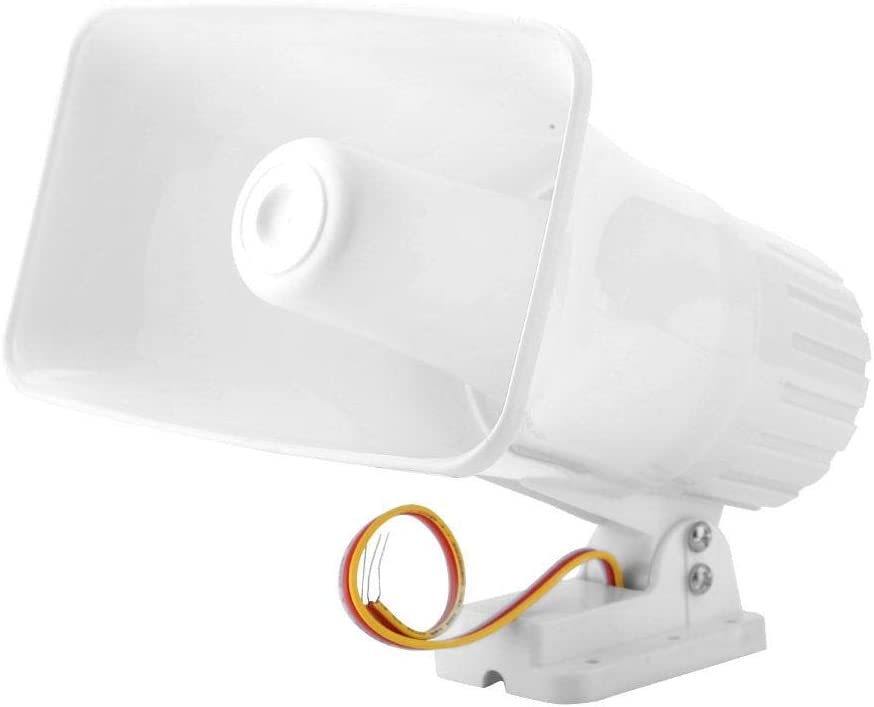 Electronic Alarm Siren Horn 150dB Indoor/Outdoor Security Siren DC 12V for Home Security System - White