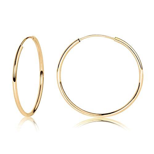 14k YG Endless Hoop Earrings 20mm 41925 - Hollow Gold Hoops